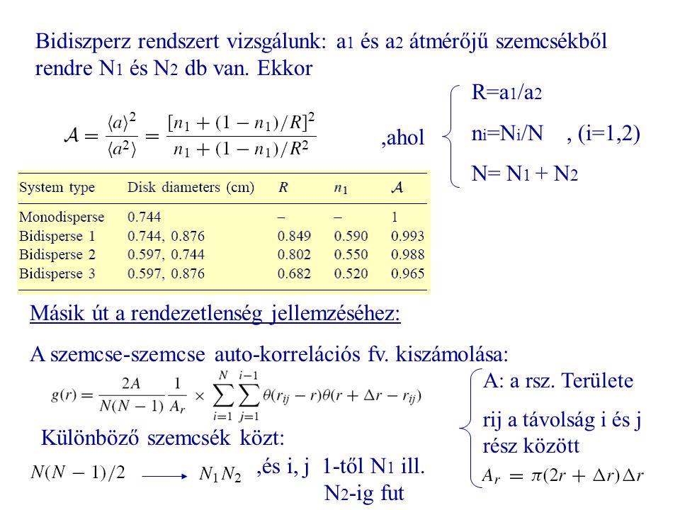 15 Bidiszperz rendszert vizsgálunk: a 1 és a 2 átmérőjű szemcsékből rendre N 1 és N 2 db van. Ekkor R=a 1 /a 2 n i =N i /N, (i=1,2) N= N 1 + N 2,ahol