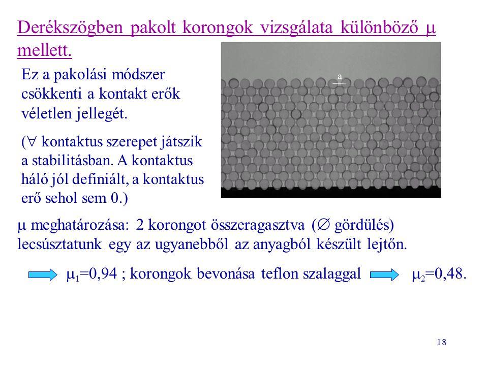 18 Derékszögben pakolt korongok vizsgálata különböző  mellett.  meghatározása: 2 korongot összeragasztva (  gördülés) lecsúsztatunk egy az ugyanebb