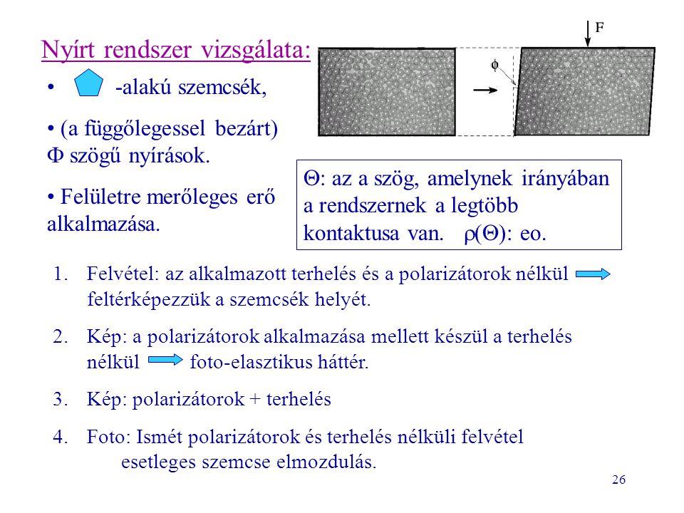 26 Nyírt rendszer vizsgálata: -alakú szemcsék, (a függőlegessel bezárt)  szögű nyírások. Felületre merőleges erő alkalmazása. 1.Felvétel: az alkalmaz