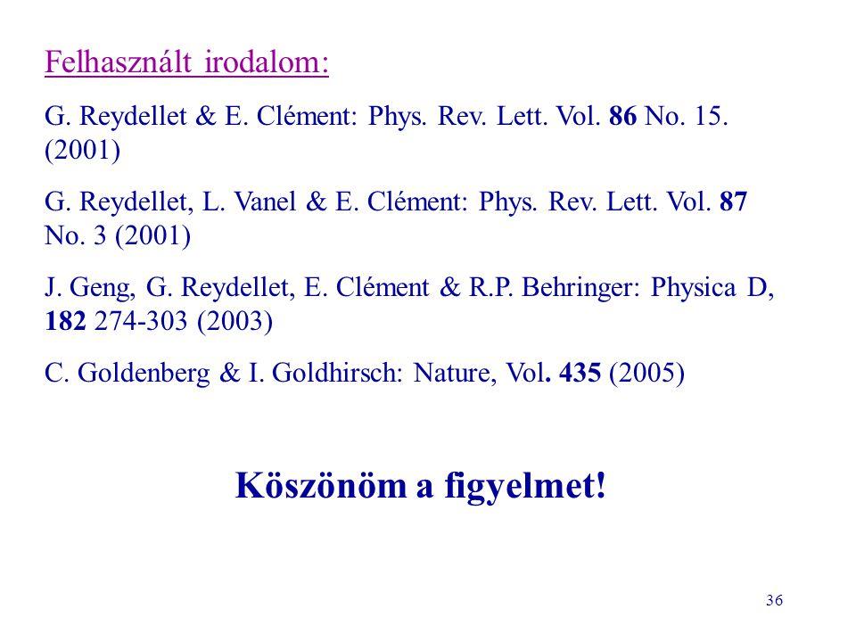 36 Köszönöm a figyelmet! Felhasznált irodalom: G. Reydellet & E. Clément: Phys. Rev. Lett. Vol. 86 No. 15. (2001) G. Reydellet, L. Vanel & E. Clément: