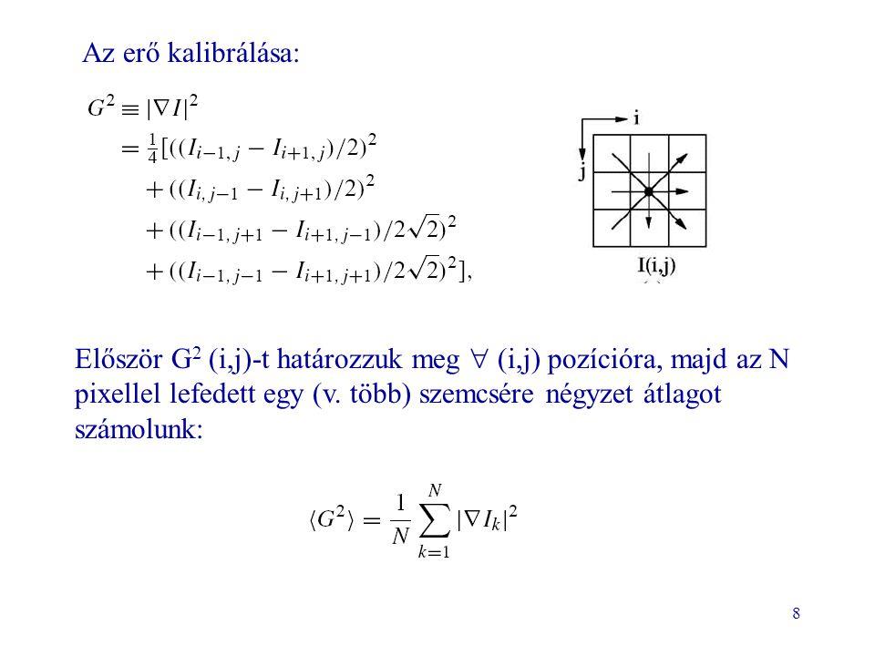 8 Az erő kalibrálása: Először G 2 (i,j)-t határozzuk meg  (i,j) pozícióra, majd az N pixellel lefedett egy (v. több) szemcsére négyzet átlagot számol