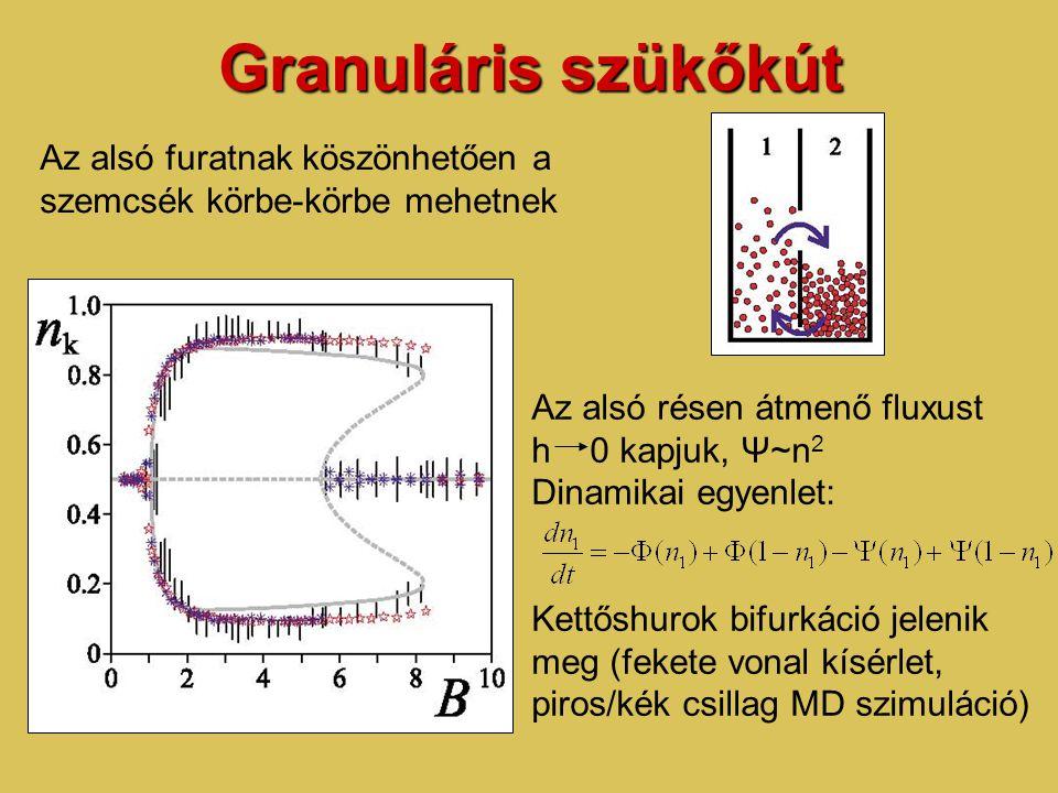 Granuláris szükőkút Az alsó furatnak köszönhetően a szemcsék körbe-körbe mehetnek Az alsó résen átmenő fluxust h 0 kapjuk, Ψ~n 2 Dinamikai egyenlet: Kettőshurok bifurkáció jelenik meg (fekete vonal kísérlet, piros/kék csillag MD szimuláció)