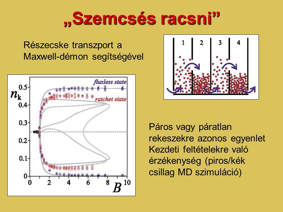 """""""Szemcsés racsni Részecske transzport a Maxwell-démon segítségével Páros vagy páratlan rekeszekre azonos egyenlet Kezdeti feltételekre való érzékenység (piros/kék csillag MD szimuláció)"""