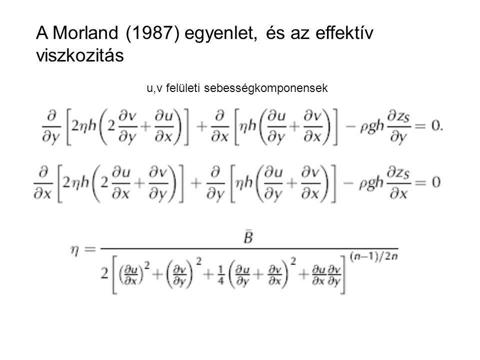 A Morland (1987) egyenlet, és az effektív viszkozitás u,v felületi sebességkomponensek