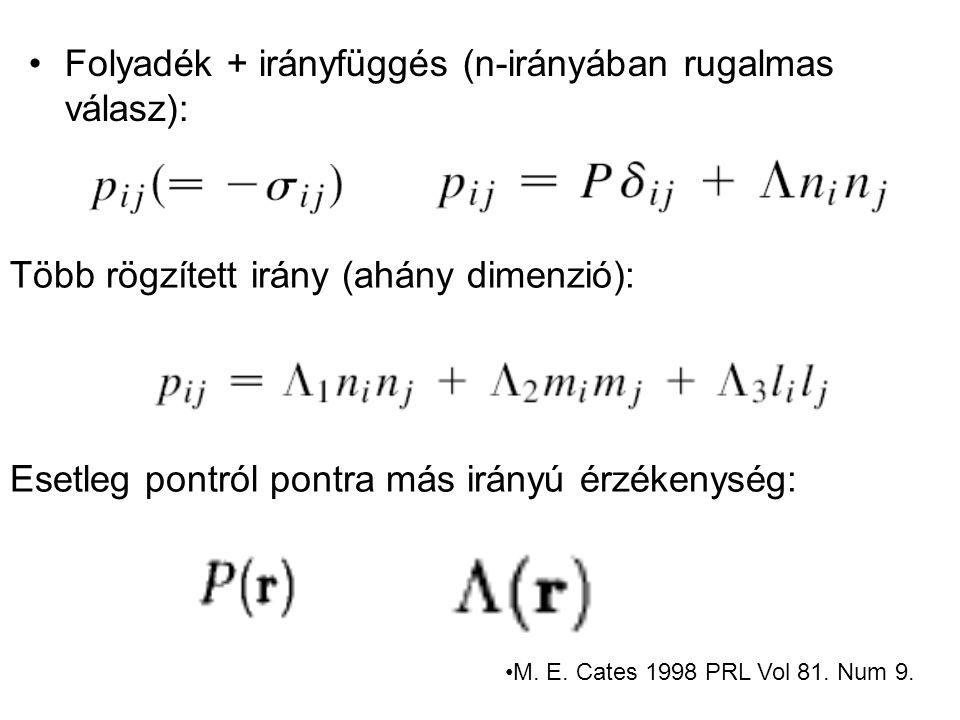 Folyadék + irányfüggés (n-irányában rugalmas válasz): Több rögzített irány (ahány dimenzió): Esetleg pontról pontra más irányú érzékenység: M.