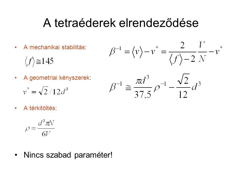 A tetraéderek elrendeződése A mechanikai stabilitás: A geometriai kényszerek: A térkitöltés: Nincs szabad paraméter!