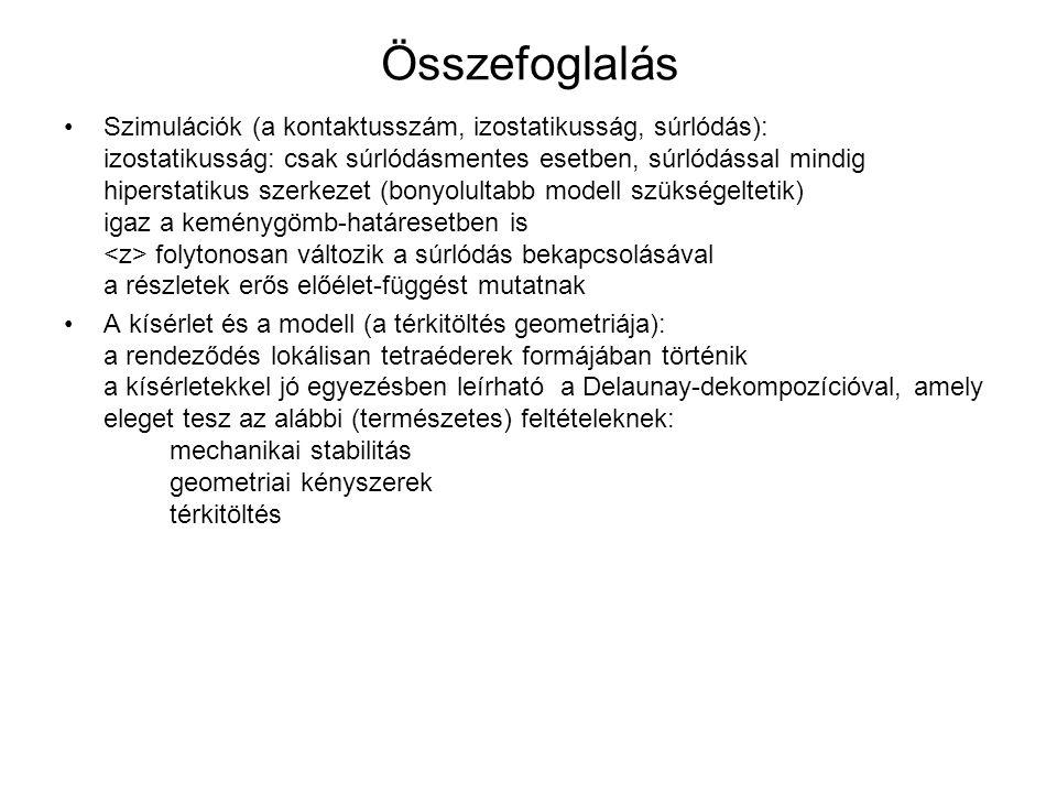 Összefoglalás Szimulációk (a kontaktusszám, izostatikusság, súrlódás): izostatikusság: csak súrlódásmentes esetben, súrlódással mindig hiperstatikus s