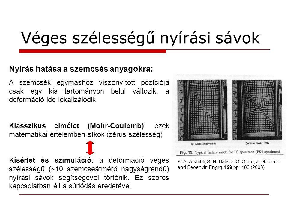 Véges szélességű nyírási sávok Nyírás hatása a szemcsés anyagokra: A szemcsék egymáshoz viszonyított pozíciója csak egy kis tartományon belül változik
