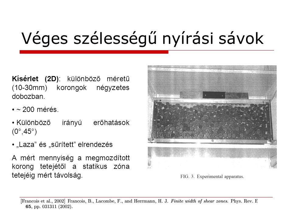 Véges szélességű nyírási sávok Kísérlet (2D): különböző méretű (10-30mm) korongok négyzetes dobozban. ~ 200 mérés. Különböző irányú erőhatások (0°,45°