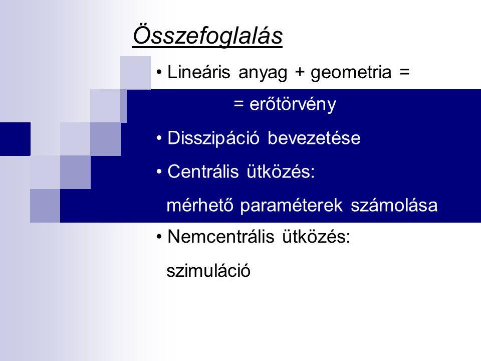 Összefoglalás Lineáris anyag + geometria = = erőtörvény Disszipáció bevezetése Centrális ütközés: mérhető paraméterek számolása Nemcentrális ütközés: