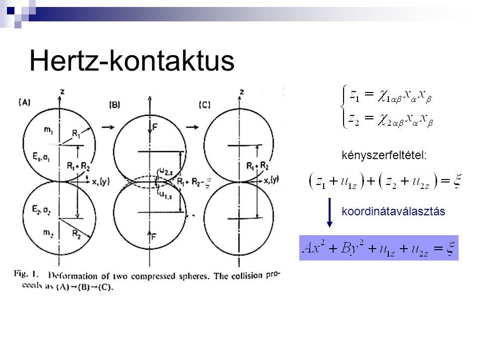 Hertz-kontaktus koordinátaválasztás kényszerfeltétel:
