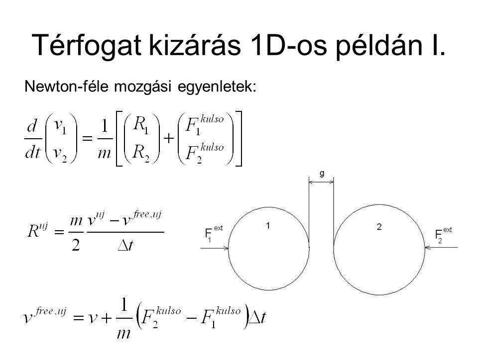 Térfogat kizárás 1D-os példán I. Newton-féle mozgási egyenletek:
