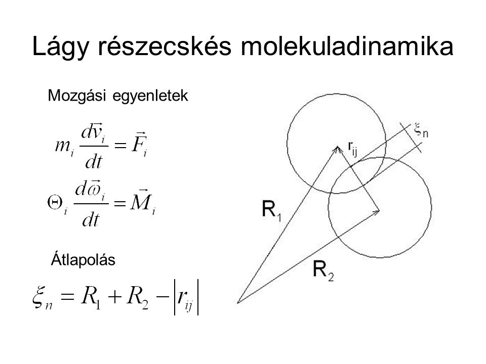 Lágy részecskés molekuladinamika Átlapolás Mozgási egyenletek