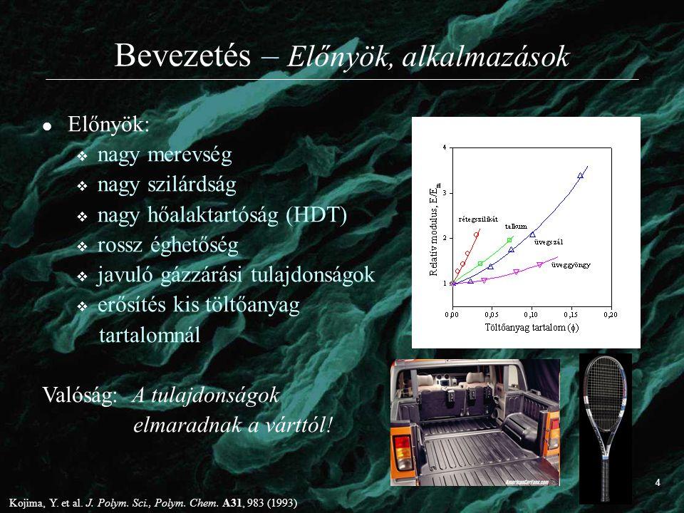 Bevezetés – Előnyök, alkalmazások Előnyök:  nagy merevség  nagy szilárdság  nagy hőalaktartóság (HDT)  rossz éghetőség  javuló gázzárási tulajdon