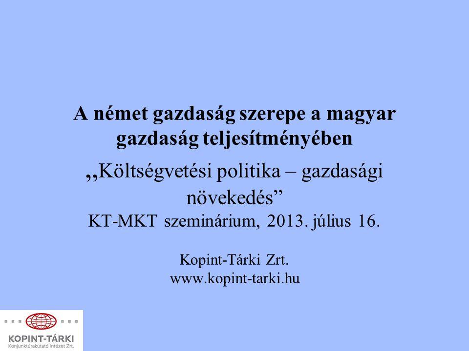 """A német gazdaság szerepe a magyar gazdaság teljesítményében """" Költségvetési politika – gazdasági növekedés"""" KT-MKT szeminárium, 2013. július 16. Kopin"""