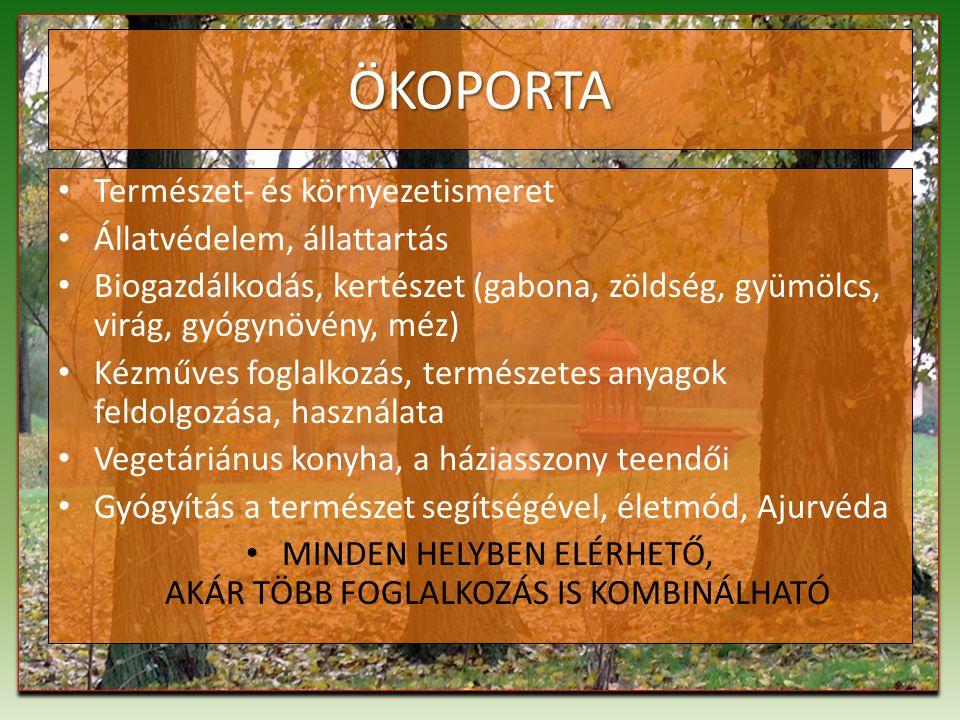 ÖKOPORTA Természet- és környezetismeret Állatvédelem, állattartás Biogazdálkodás, kertészet (gabona, zöldség, gyümölcs, virág, gyógynövény, méz) Kézműves foglalkozás, természetes anyagok feldolgozása, használata Vegetáriánus konyha, a háziasszony teendői Gyógyítás a természet segítségével, életmód, Ajurvéda MINDEN HELYBEN ELÉRHETŐ, AKÁR TÖBB FOGLALKOZÁS IS KOMBINÁLHATÓ