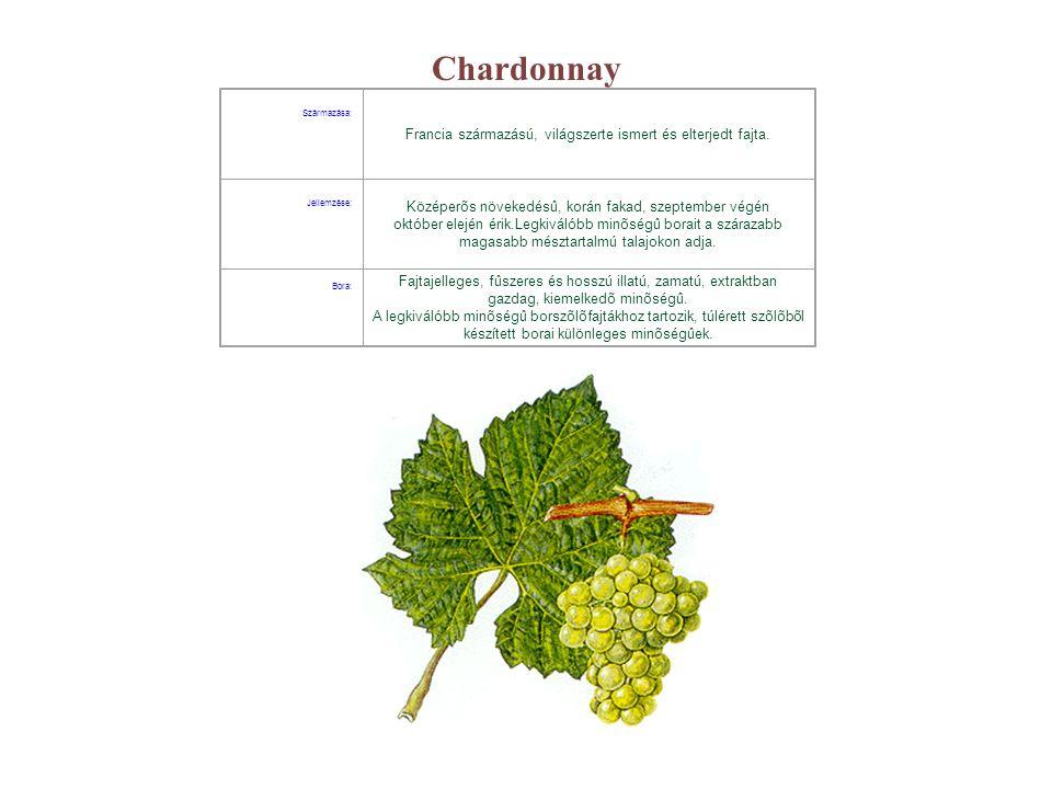 Chardonnay Származása: Francia származású, világszerte ismert és elterjedt fajta. Jellemzése: Középerõs növekedésû, korán fakad, szeptember végén októ