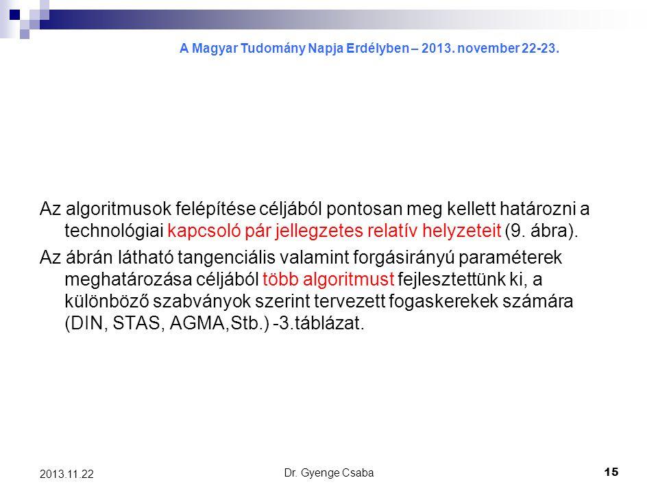 A Magyar Tudomány Napja Erdélyben – 2013. november 22-23. Dr. Gyenge Csaba15 2013.11.22 Az algoritmusok felépítése céljából pontosan meg kellett határ