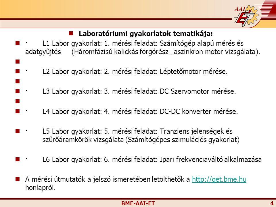 BME-AAI-ET 4 Laboratóriumi gyakorlatok tematikája: ·L1 Labor gyakorlat: 1. mérési feladat: Számítógép alapú mérés és adatgyűjtés (Háromfázisú kalickás