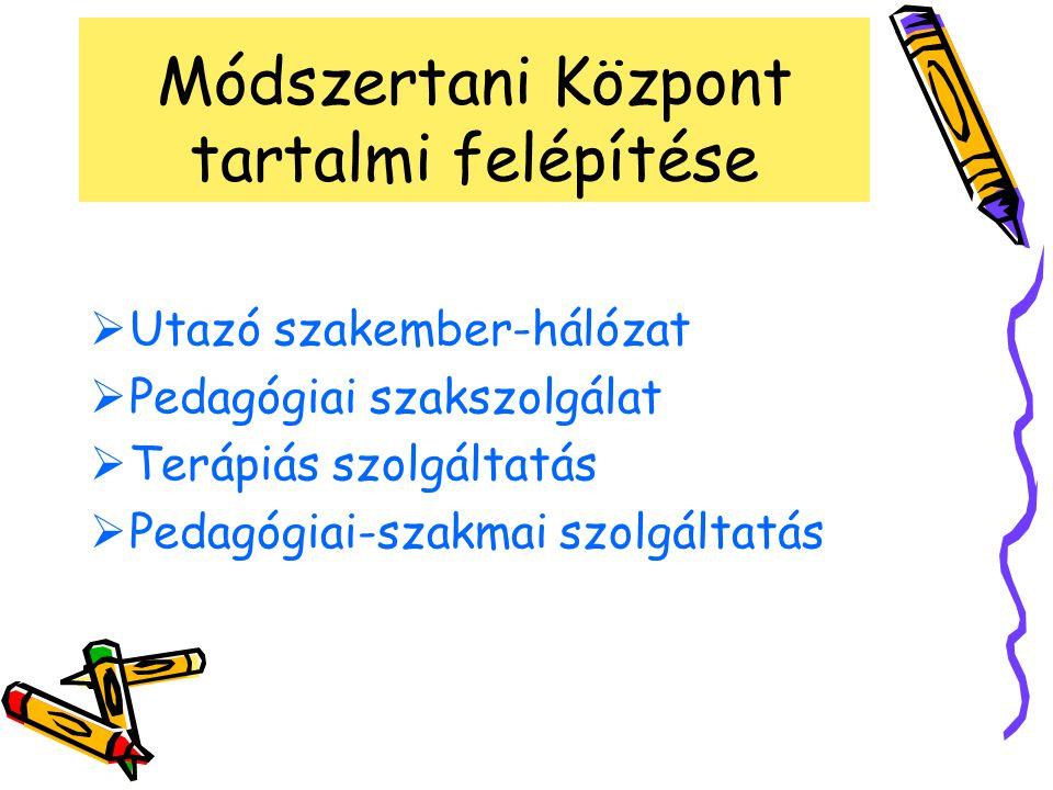 Módszertani Központ tartalmi felépítése  Utazó szakember-hálózat  Pedagógiai szakszolgálat  Terápiás szolgáltatás  Pedagógiai-szakmai szolgáltatás