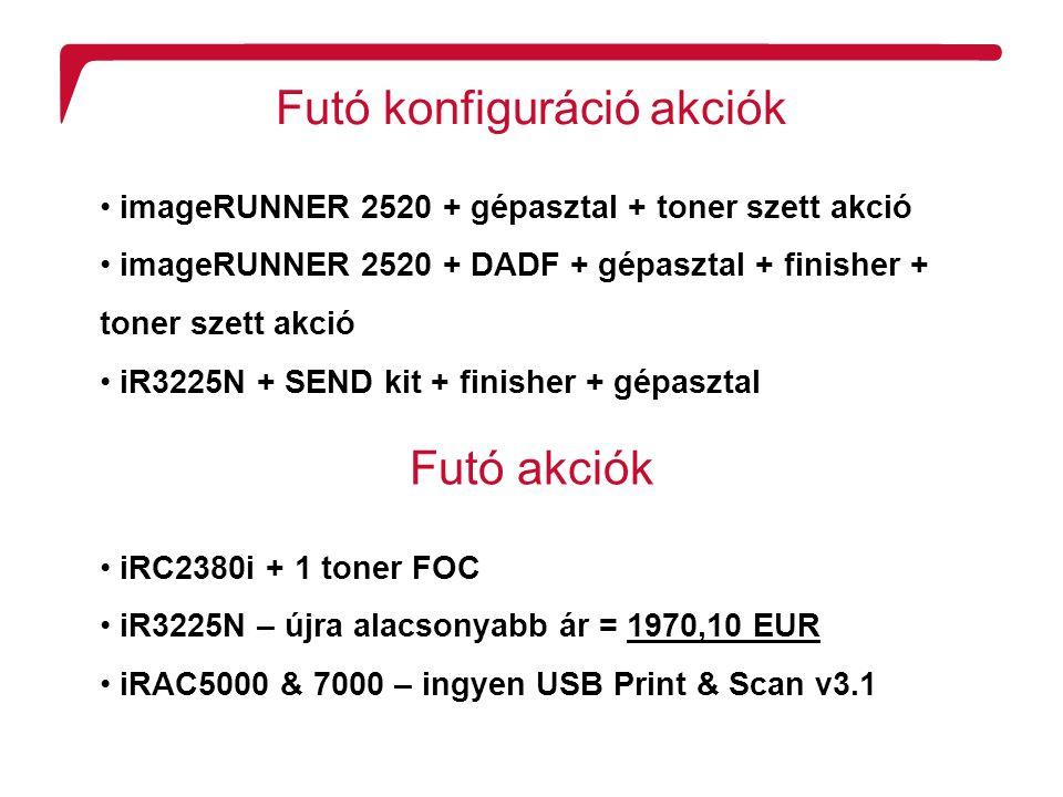 R2 Confidentiality Futó konfiguráció akciók imageRUNNER 2520 + gépasztal + toner szett akció imageRUNNER 2520 + DADF + gépasztal + finisher + toner szett akció iR3225N + SEND kit + finisher + gépasztal Futó akciók iRC2380i + 1 toner FOC iR3225N – újra alacsonyabb ár = 1970,10 EUR iRAC5000 & 7000 – ingyen USB Print & Scan v3.1