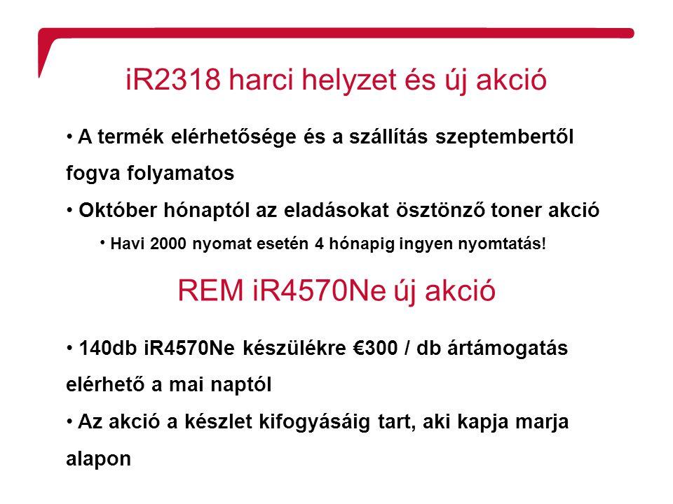 R2 Confidentiality iR2318 harci helyzet és új akció A termék elérhetősége és a szállítás szeptembertől fogva folyamatos Október hónaptól az eladásokat ösztönző toner akció Havi 2000 nyomat esetén 4 hónapig ingyen nyomtatás.