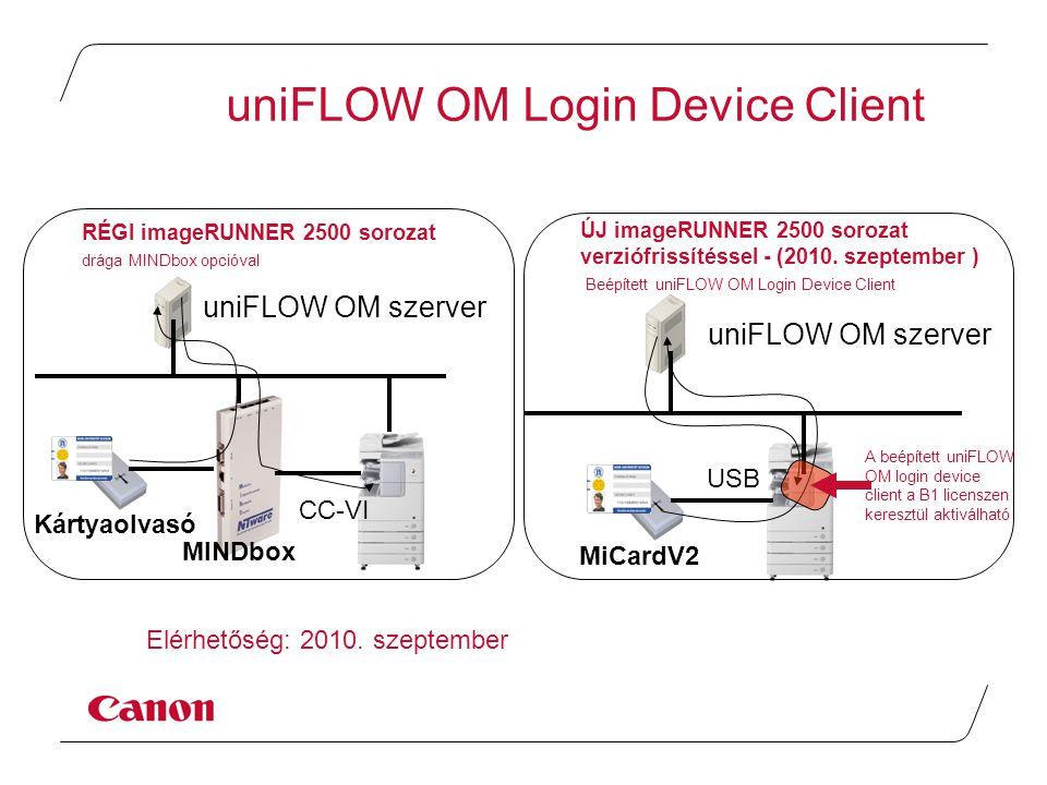 uniFLOW OM szerver MINDbox CC-VI Kártyaolvasó uniFLOW OM szerver MiCardV2 USB ÚJ imageRUNNER 2500 sorozat verziófrissítéssel - (2010.