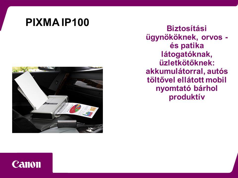 Biztosítási ügynököknek, orvos - és patika látogatóknak, üzletkötőknek: akkumulátorral, autós töltővel ellátott mobil nyomtató bárhol produktív PIXMA IP100