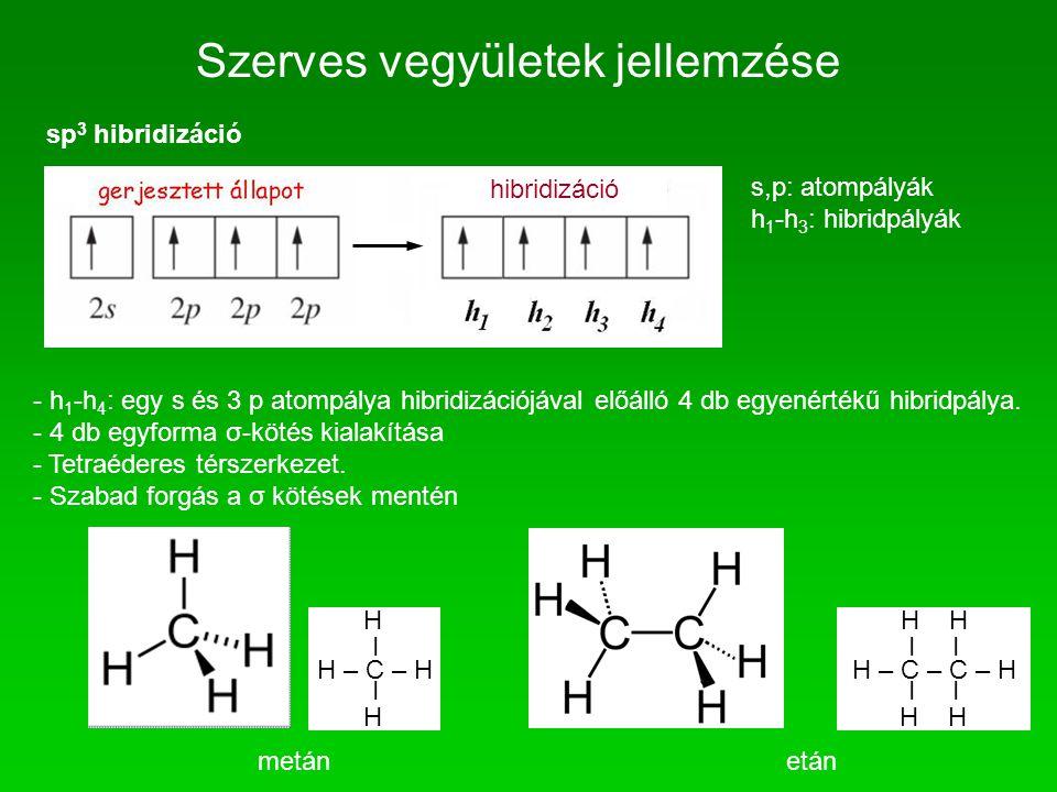 Szerves vegyületek jellemzése sp 3 hibridizáció s,p: atompályák h 1 -h 3 : hibridpályák - h 1 -h 4 : egy s és 3 p atompálya hibridizációjával előálló