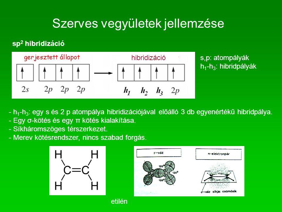 Szerves vegyületek jellemzése sp 2 hibridizáció s,p: atompályák h 1 -h 3 : hibridpályák - h 1 -h 3 : egy s és 2 p atompálya hibridizációjával előálló