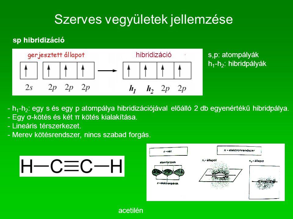 Szerves vegyületek jellemzése sp hibridizáció s,p: atompályák h 1 -h 2 : hibridpályák - h 1 -h 2 : egy s és egy p atompálya hibridizációjával előálló