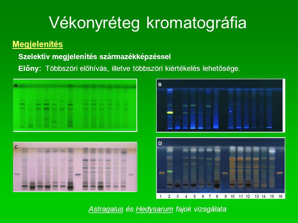 Vékonyréteg kromatográfia Megjelenítés Szelektív megjelenítés származékképzéssel Előny: Többszöri előhívás, illetve többszöri kiértékelés lehetősége.