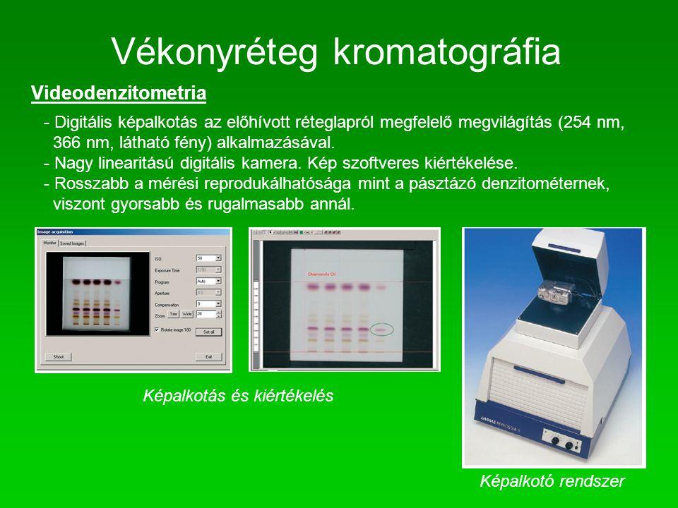 Vékonyréteg kromatográfia Videodenzitometria - Digitális képalkotás az előhívott réteglapról megfelelő megvilágítás (254 nm, 366 nm, látható fény) alk