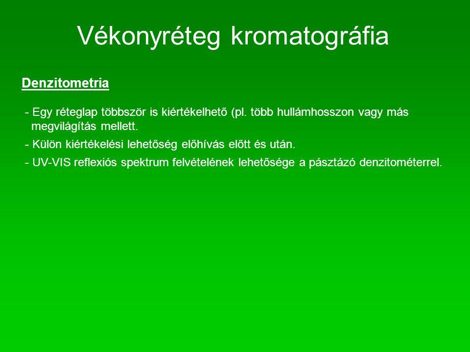 Vékonyréteg kromatográfia Denzitometria - Egy réteglap többször is kiértékelhető (pl. több hullámhosszon vagy más megvilágítás mellett. - Külön kiérté