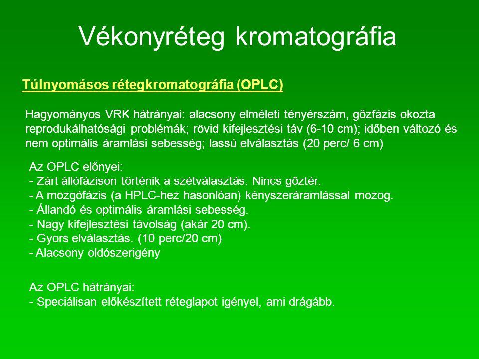 Vékonyréteg kromatográfia Túlnyomásos rétegkromatográfia (OPLC) Hagyományos VRK hátrányai: alacsony elméleti tényérszám, gőzfázis okozta reprodukálhat