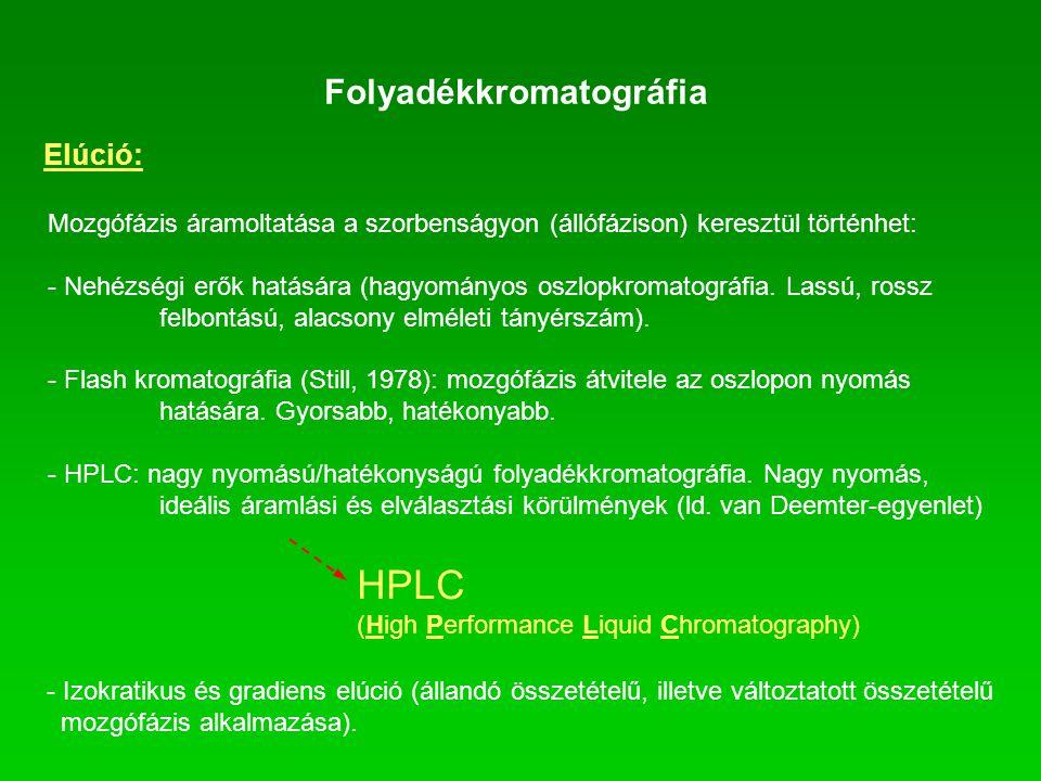 Folyadékkromatográfia Elúció: Mozgófázis áramoltatása a szorbenságyon (állófázison) keresztül történhet: - Nehézségi erők hatására (hagyományos oszlop