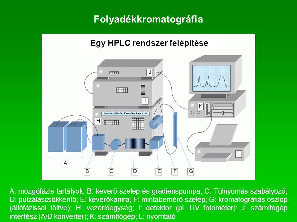 Folyadékkromatográfia A: mozgófázis tartályok; B: keverő szelep és gradienspumpa; C: Túlnyomás szabályozó; D: pulzáláscsökkentő; E: keverőkamra; F: mi
