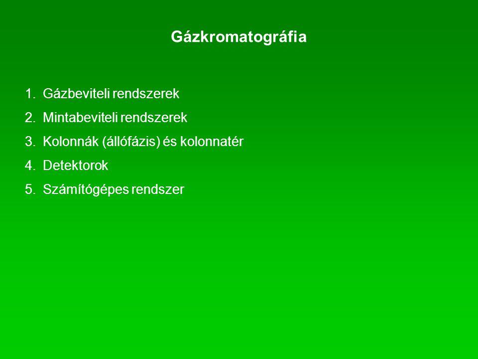 1.Gázbeviteli rendszerek 2.Mintabeviteli rendszerek 3.Kolonnák (állófázis) és kolonnatér 4.Detektorok 5.Számítógépes rendszer Gázkromatográfia