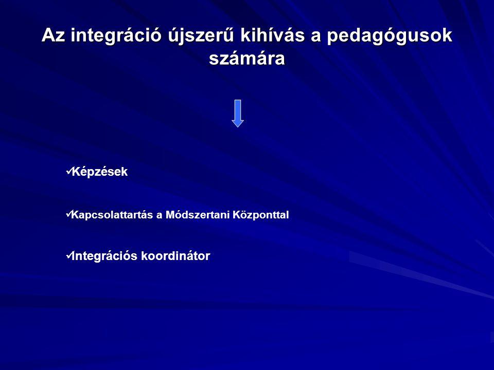 Az integráció újszerű kihívás a pedagógusok számára Képzések Kapcsolattartás a Módszertani Központtal Integrációs koordinátor