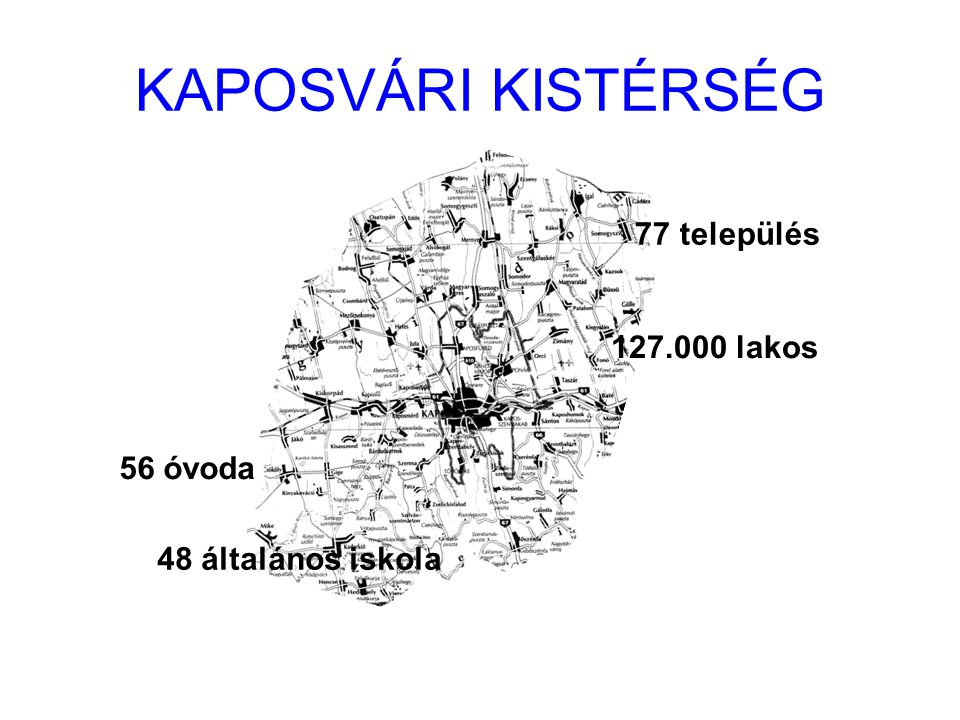 KAPOSVÁRI KISTÉRSÉG 77 település 127.000 lakos 56 óvoda 48 általános iskola
