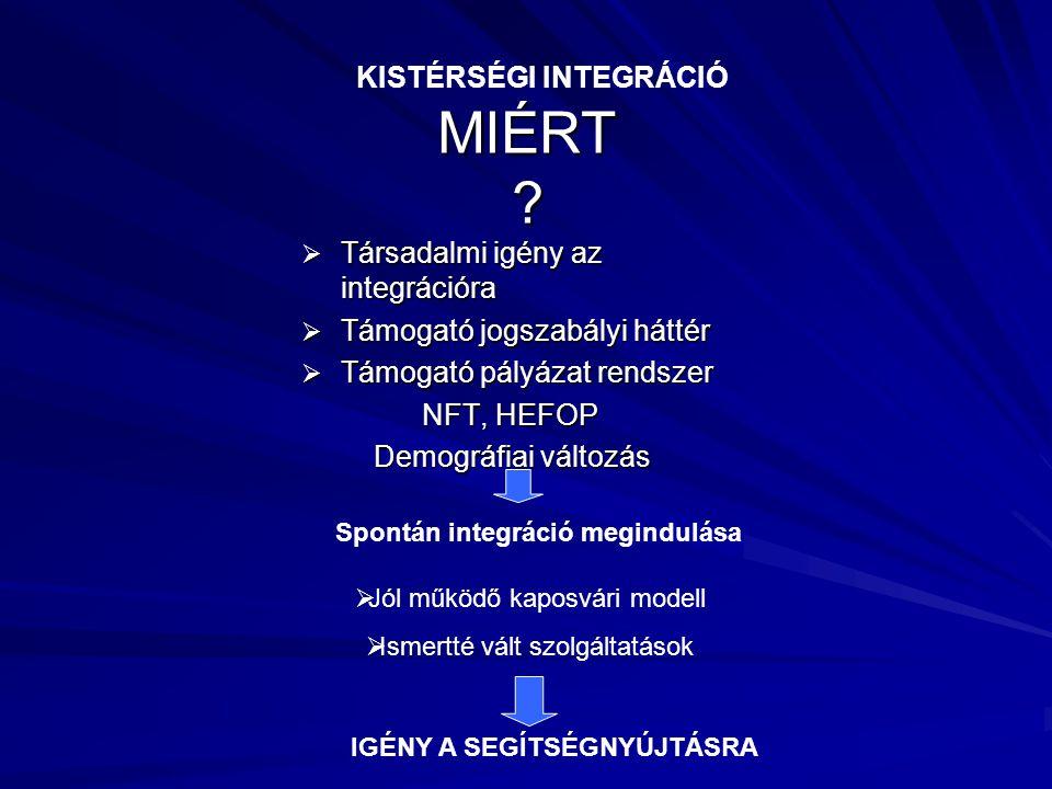 MIÉRT ?  Társadalmi igény az integrációra  Támogató jogszabályi háttér  Támogató pályázat rendszer NFT, HEFOP NFT, HEFOP Demográfiai változás Demog
