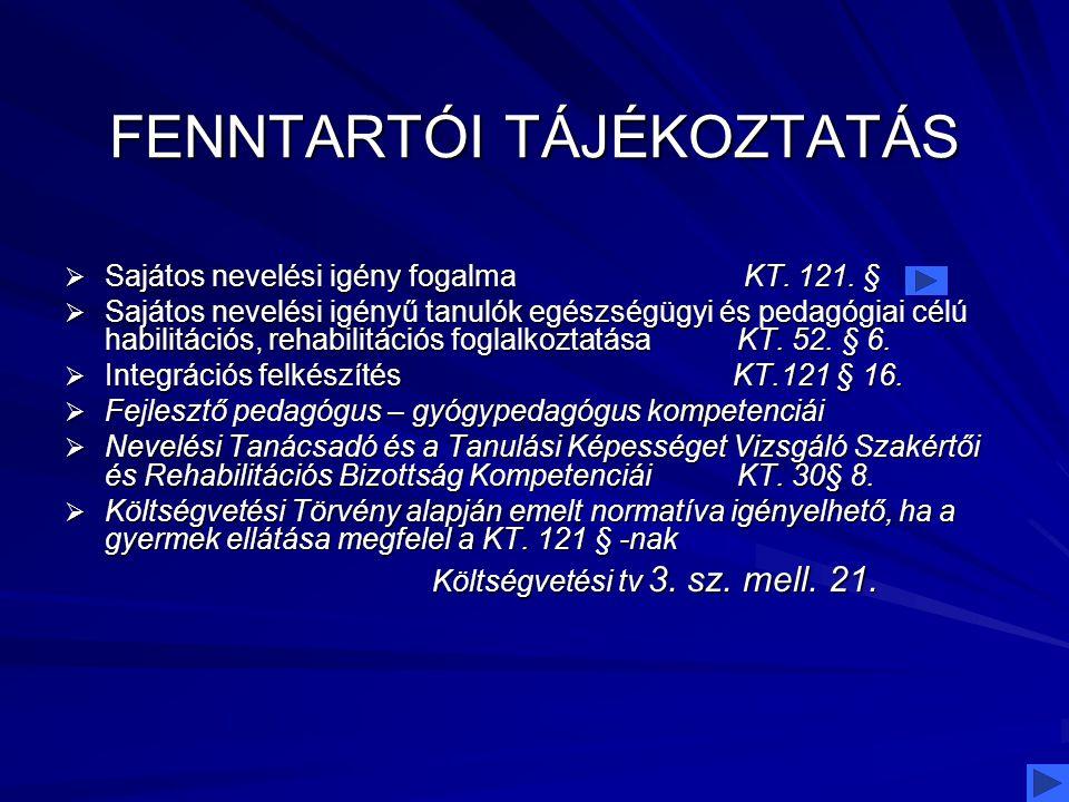 FENNTARTÓI TÁJÉKOZTATÁS  Sajátos nevelési igény fogalma KT. 121. §  Sajátos nevelési igényű tanulók egészségügyi és pedagógiai célú habilitációs, re