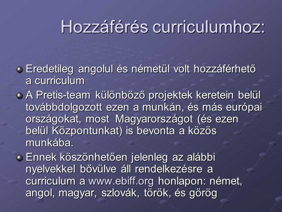 Hozzáférés curriculumhoz: Eredetileg angolul és németül volt hozzáférhető a curriculum A Pretis-team különböző projektek keretein belül továbbdolgozot