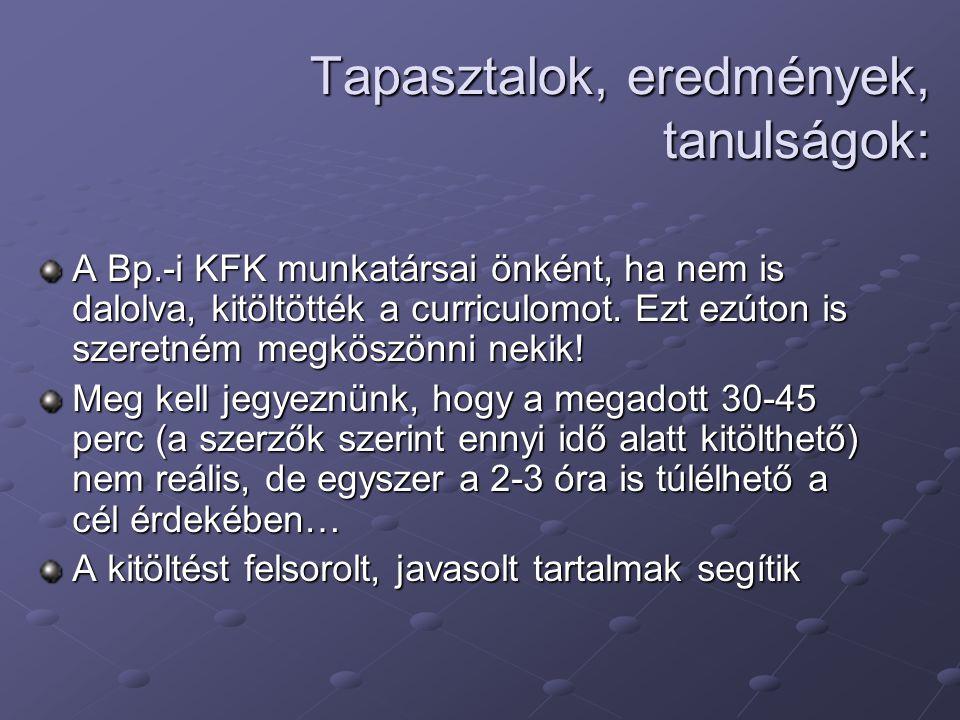 Tapasztalok, eredmények, tanulságok: A Bp.-i KFK munkatársai önként, ha nem is dalolva, kitöltötték a curriculomot. Ezt ezúton is szeretném megköszönn