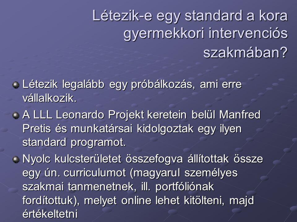 Létezik-e egy standard a kora gyermekkori intervenciós szakmában? Létezik legalább egy próbálkozás, ami erre vállalkozik. A LLL Leonardo Projekt keret
