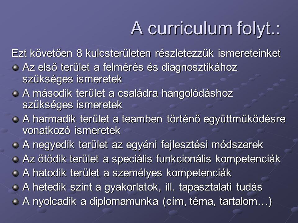 A curriculum folyt.: Ezt követően 8 kulcsterületen részletezzük ismereteinket Az első terület a felmérés és diagnosztikához szükséges ismeretek A máso