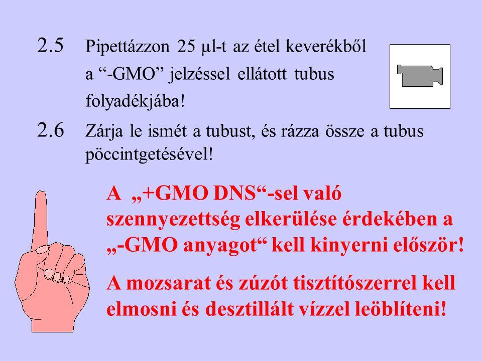 2.5 Pipettázzon 25 µl-t az étel keverékből a -GMO jelzéssel ellátott tubus folyadékjába.