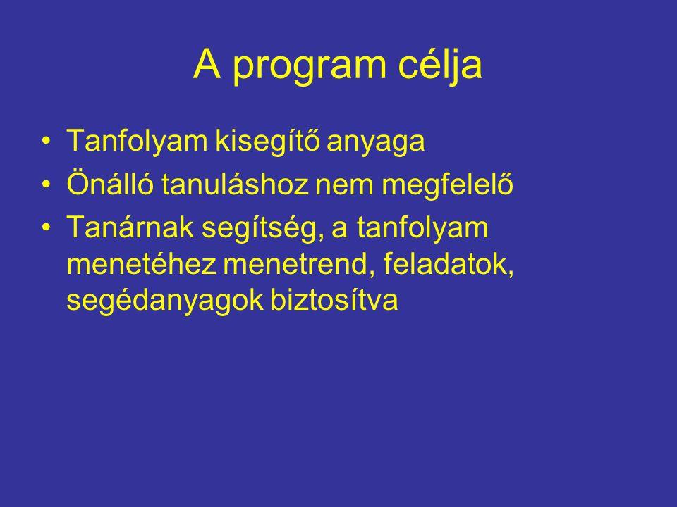 A program célja Tanfolyam kisegítő anyaga Önálló tanuláshoz nem megfelelő Tanárnak segítség, a tanfolyam menetéhez menetrend, feladatok, segédanyagok