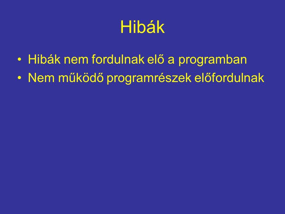 Hibák Hibák nem fordulnak elő a programban Nem működő programrészek előfordulnak