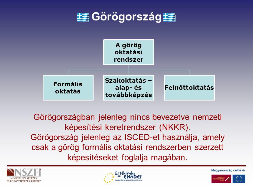 Görögország A görög oktatási rendszer Formális oktatás Szakoktatás – alap- és továbbképzés Felnőttoktatás Görögországban jelenleg nincs bevezetve nemz